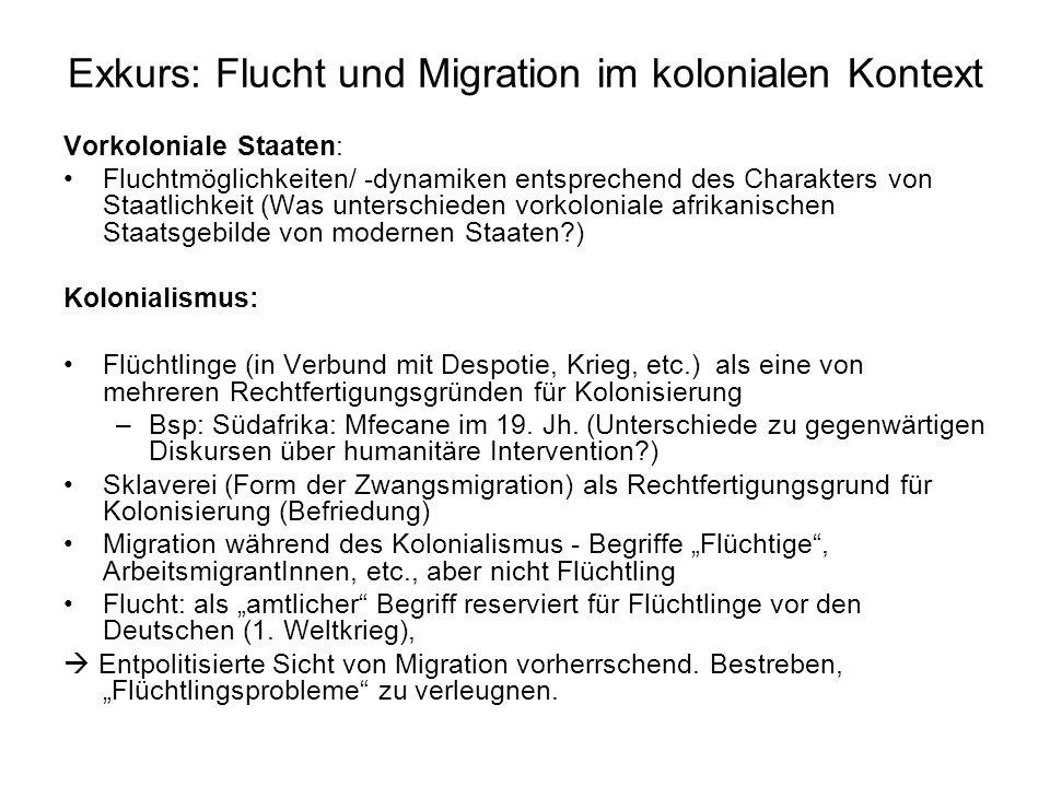 Exkurs: Flucht und Migration im kolonialen Kontext Vorkoloniale Staaten: Fluchtmöglichkeiten/ -dynamiken entsprechend des Charakters von Staatlichkeit