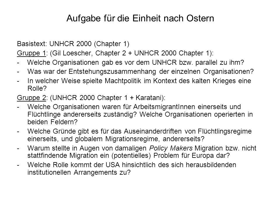 Aufgabe für die Einheit nach Ostern Basistext: UNHCR 2000 (Chapter 1) Gruppe 1: (Gil Loescher, Chapter 2 + UNHCR 2000 Chapter 1): - Welche Organisatio