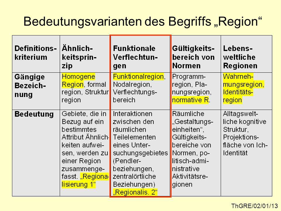 Pendlerein- zugsgebiete als Beispiel für Funktional- regionen ThGRE/02/01/14