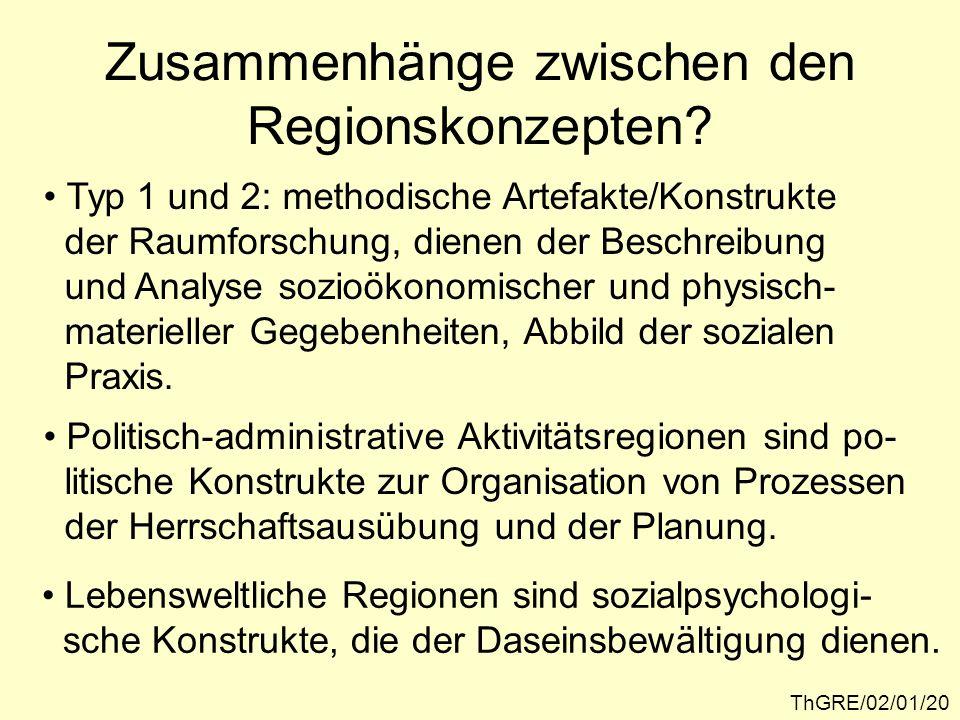 These: ThGRE/02/01/21 Zwischen den besprochenen Regions- konzepten bestehen sehr bedeutsame Zusammenhänge und Wechselwirkun- gen, die vor allem im Kontext der Regi- onalentwicklung deutlich werden.