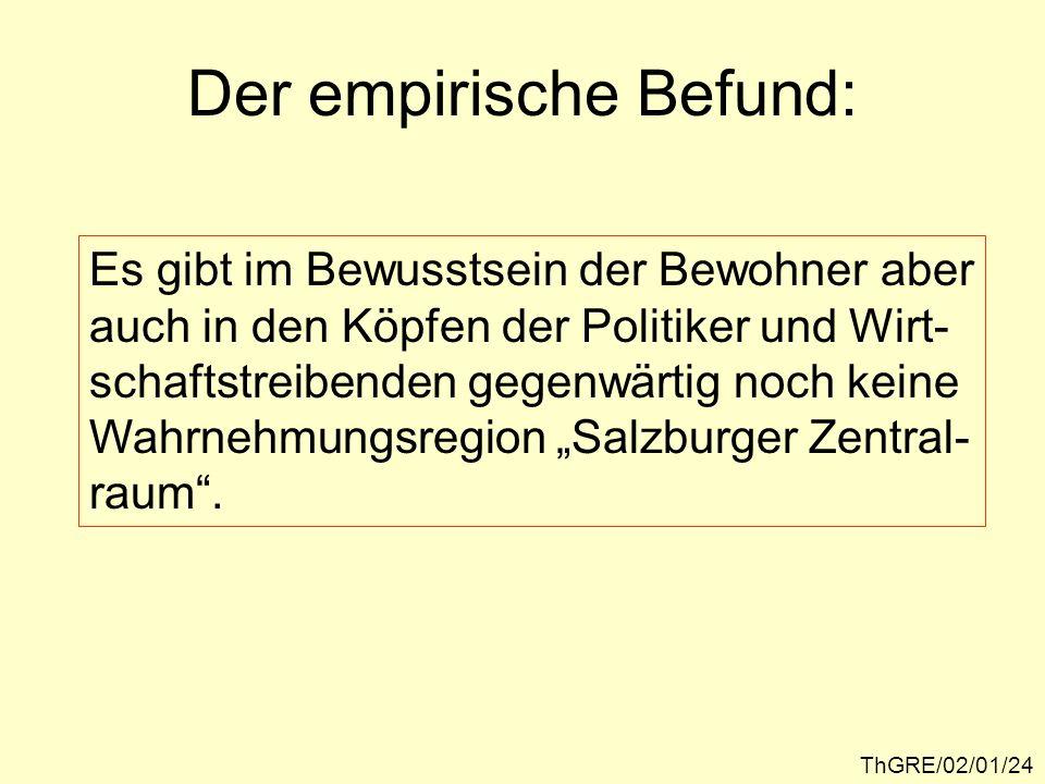 ThGRE/02/01/25 Wahrnehmungsregionen im Bereich des Salzburger Zentralraumes FLACHGAU TENNENGAU RUPERTIGAU INNVIERTEL