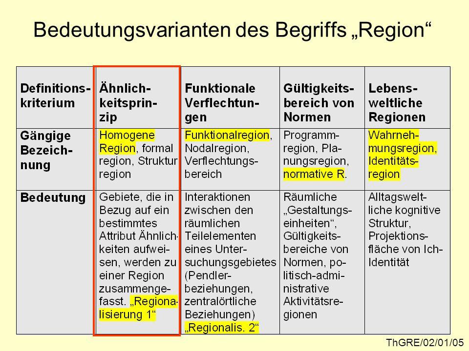 Regionalisierung 1 – Wahl der räumlichen Bezugseinheiten ThGRE/02/01/06Quelle: P. WEICHHART, 1996