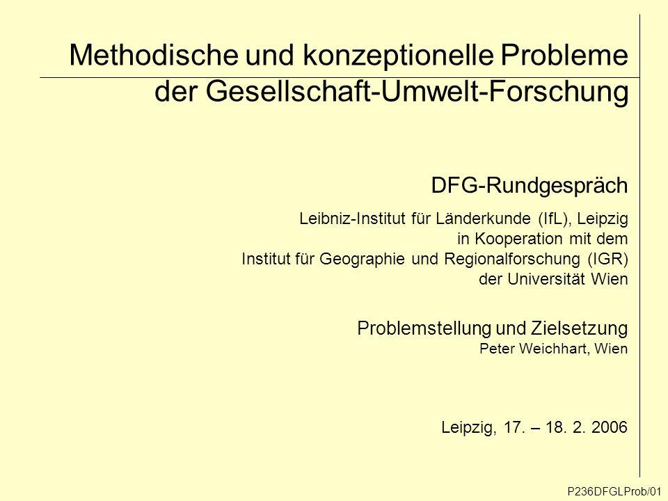 Methodische und konzeptionelle Probleme der Gesellschaft-Umwelt-Forschung P236DFGLProb/01 DFG-Rundgespräch Leibniz-Institut für Länderkunde (IfL), Lei