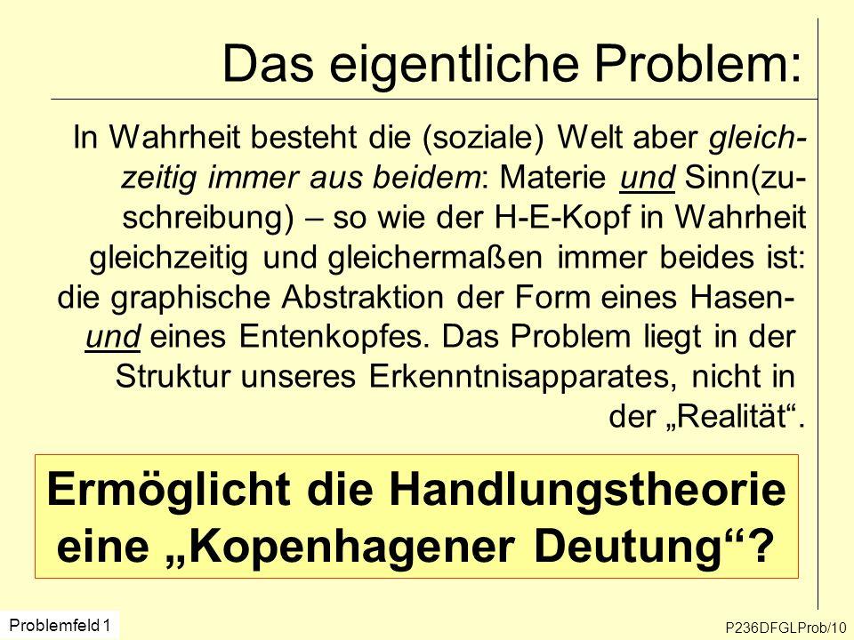 P236DFGLProb/10 Das eigentliche Problem: In Wahrheit besteht die (soziale) Welt aber gleich- zeitig immer aus beidem: Materie und Sinn(zu- schreibung)
