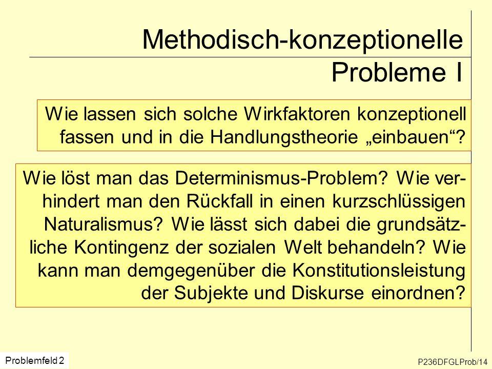 Methodisch-konzeptionelle Probleme I P236DFGLProb/14 Problemfeld 2 Wie lassen sich solche Wirkfaktoren konzeptionell fassen und in die Handlungstheori