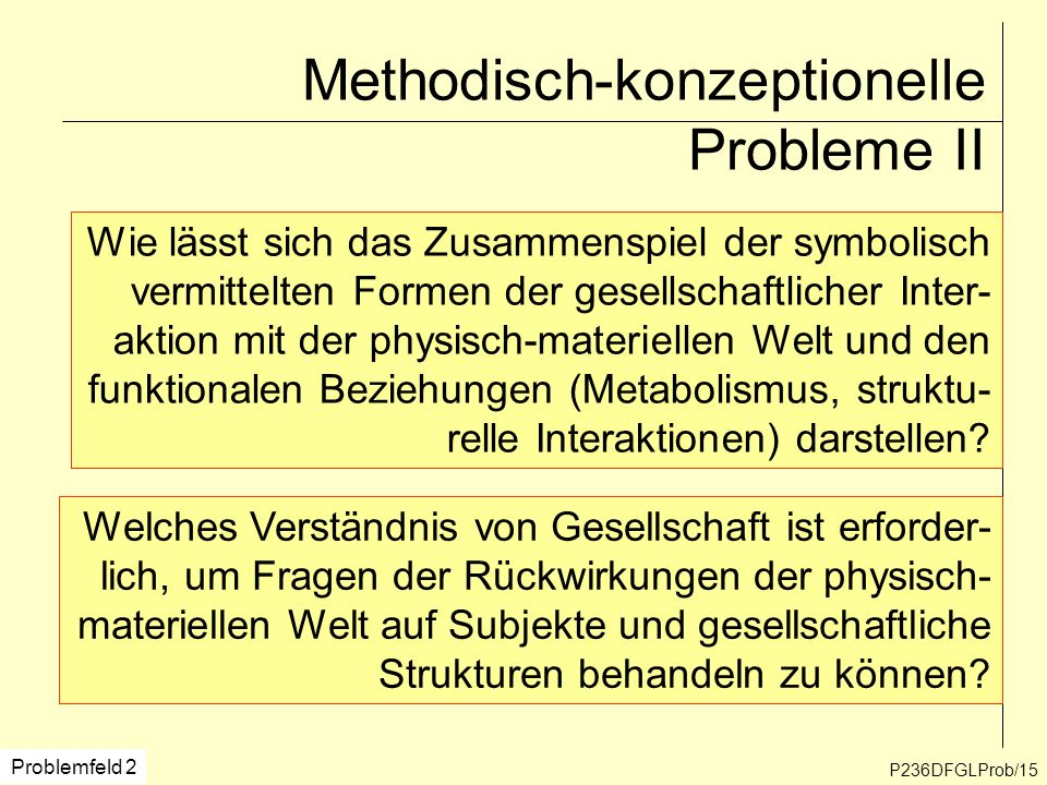 P236DFGLProb/15 Methodisch-konzeptionelle Probleme II Wie lässt sich das Zusammenspiel der symbolisch vermittelten Formen der gesellschaftlicher Inter