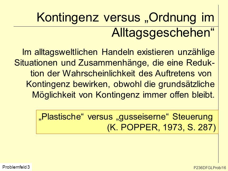 Kontingenz versus Ordnung im Alltagsgeschehen P236DFGLProb/16 Problemfeld 3 Im alltagsweltlichen Handeln existieren unzählige Situationen und Zusammen
