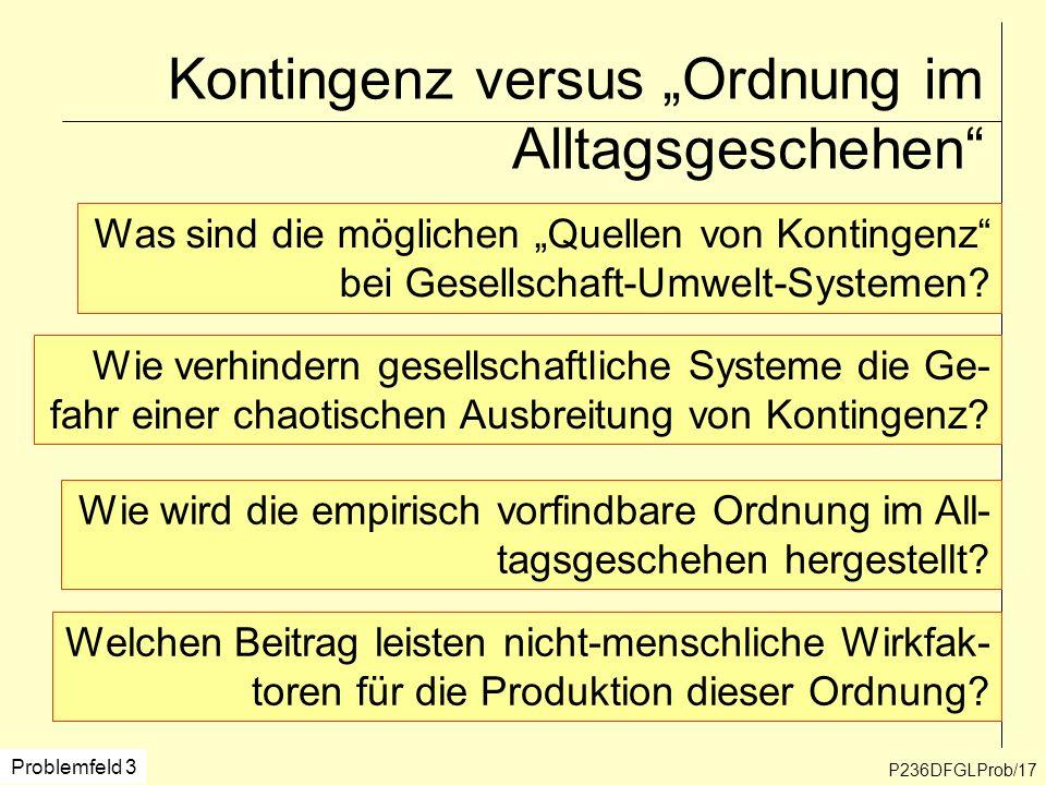 Kontingenz versus Ordnung im Alltagsgeschehen P236DFGLProb/17 Problemfeld 3 Was sind die möglichen Quellen von Kontingenz bei Gesellschaft-Umwelt-Syst