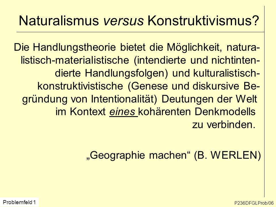 P236DFGLProb/06 Naturalismus versus Konstruktivismus? Die Handlungstheorie bietet die Möglichkeit, natura- listisch-materialistische (intendierte und