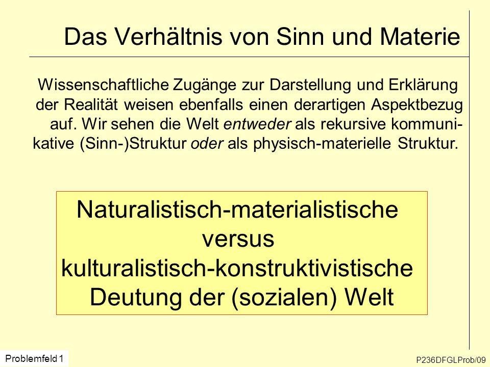 P236DFGLProb/09 Das Verhältnis von Sinn und Materie Naturalistisch-materialistische versus kulturalistisch-konstruktivistische Deutung der (sozialen)