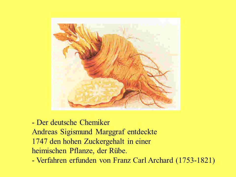 - Der deutsche Chemiker Andreas Sigismund Marggraf entdeckte 1747 den hohen Zuckergehalt in einer heimischen Pflanze, der Rübe. - Verfahren erfunden v