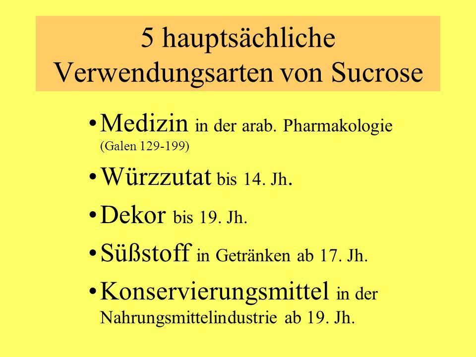 5 hauptsächliche Verwendungsarten von Sucrose Medizin in der arab. Pharmakologie (Galen 129-199) Würzzutat bis 14. Jh. Dekor bis 19. Jh. Süßstoff in G