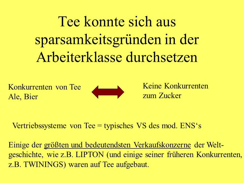 Kaum Dokumente/ Erklärungen für das Süssen von ursprünglich bitteren Getränken aus den Kolonien nur Feststellungen z.B.