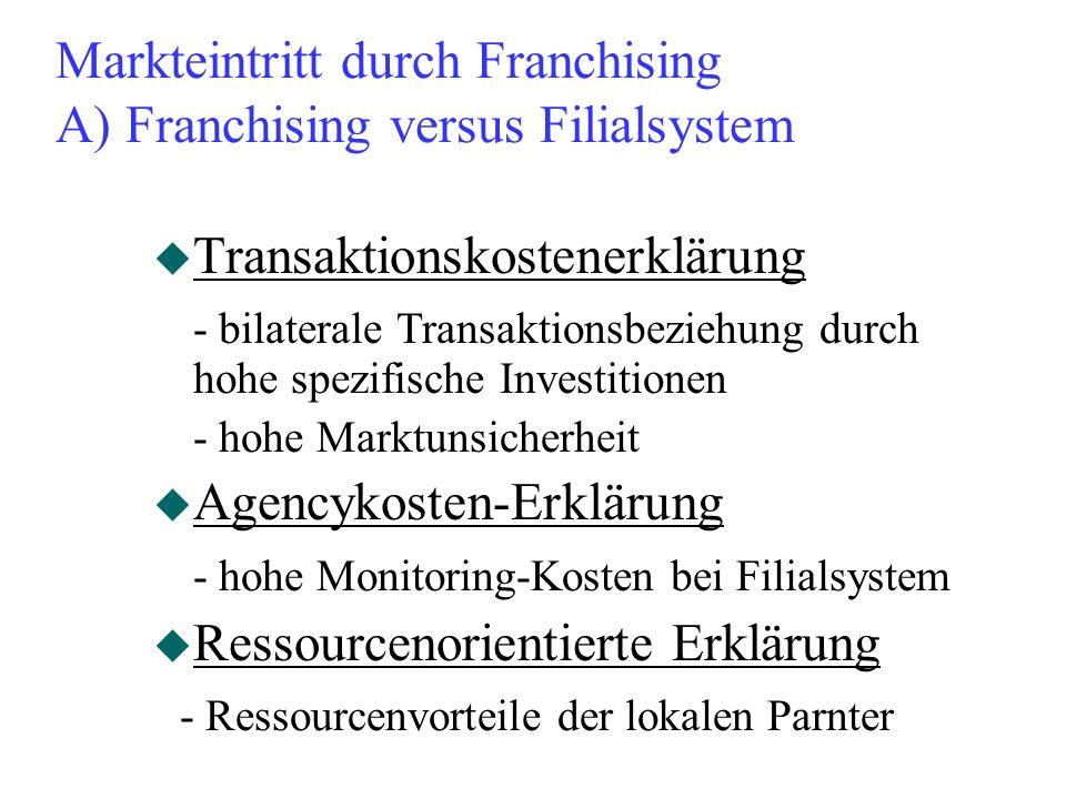 Markteintritt durch Franchising A) Franchising versus Filialsystem u Transaktionskostenerklärung - bilaterale Transaktionsbeziehung durch hohe spezifi
