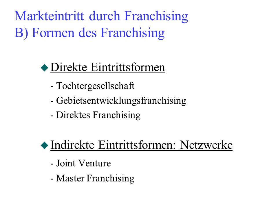 Markteintritt durch Franchising B) Formen des Franchising u Direkte Eintrittsformen - Tochtergesellschaft - Gebietsentwicklungsfranchising - Direktes