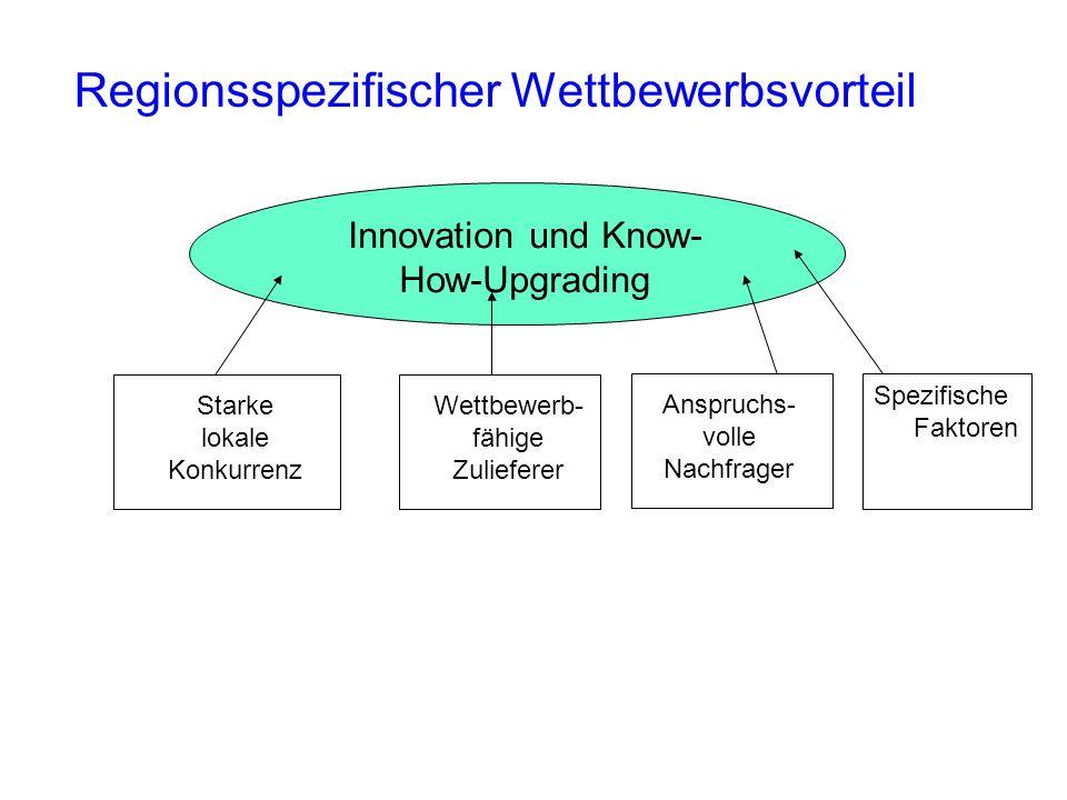 Regionsspezifischer Wettbewerbsvorteil Innovation und Know- How-Upgrading Starke lokale Konkurrenz Wettbewerb- fähige Zulieferer Anspruchs- volle Nach