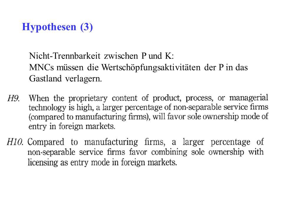 Nicht-Trennbarkeit zwischen P und K: MNCs müssen die Wertschöpfungsaktivitäten der P in das Gastland verlagern. Hypothesen (3)
