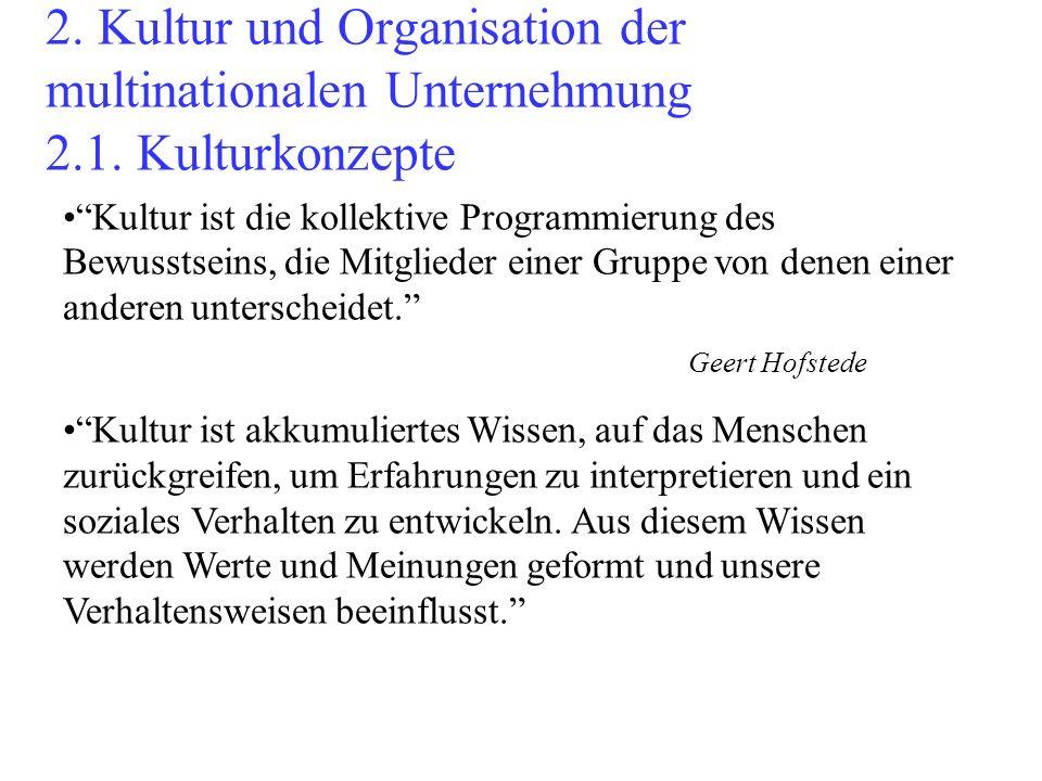 2. Kultur und Organisation der multinationalen Unternehmung 2.1. Kulturkonzepte Kultur ist die kollektive Programmierung des Bewusstseins, die Mitglie