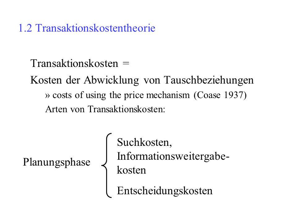 1.2 Transaktionskostentheorie Transaktionskosten = Kosten der Abwicklung von Tauschbeziehungen »costs of using the price mechanism (Coase 1937) Arten