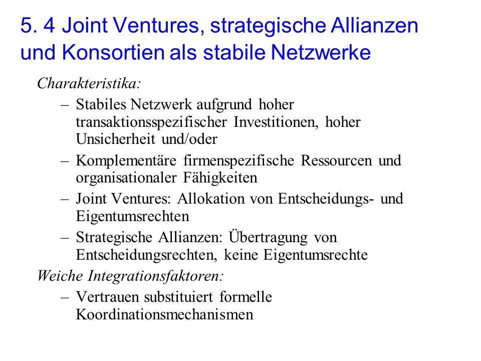 5. 4 Joint Ventures, strategische Allianzen und Konsortien als stabile Netzwerke Charakteristika: –Stabiles Netzwerk aufgrund hoher transaktionsspezif