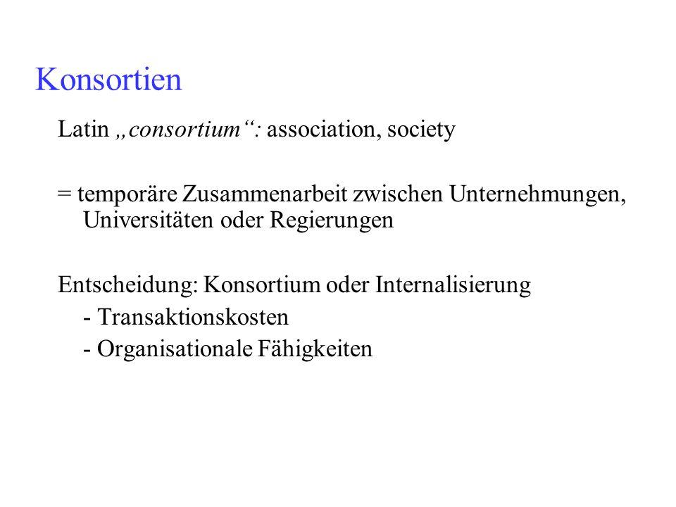 Latin consortium: association, society = temporäre Zusammenarbeit zwischen Unternehmungen, Universitäten oder Regierungen Entscheidung: Konsortium ode
