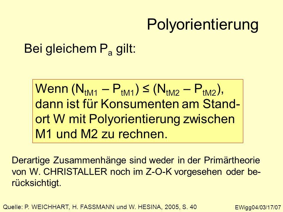EWigg04/03/17/07 Polyorientierung Bei gleichem P a gilt: Wenn (N tM1 – P tM1 ) (N tM2 – P tM2 ), dann ist für Konsumenten am Stand- ort W mit Polyorie