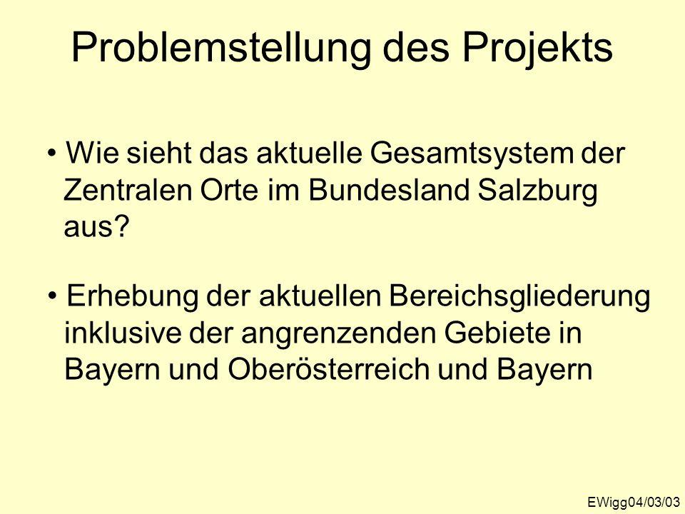Problemstellung des Projekts EWigg04/03/03 Wie sieht das aktuelle Gesamtsystem der Zentralen Orte im Bundesland Salzburg aus? Erhebung der aktuellen B