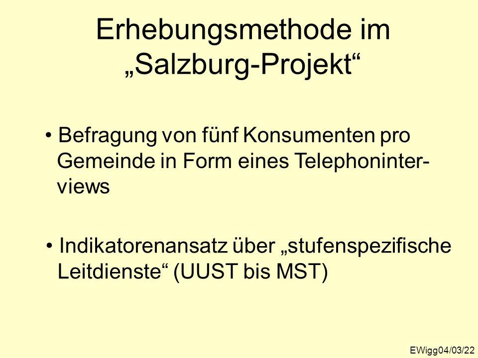 Erhebungsmethode im Salzburg-Projekt EWigg04/03/22 Befragung von fünf Konsumenten pro Gemeinde in Form eines Telephoninter- views Indikatorenansatz üb