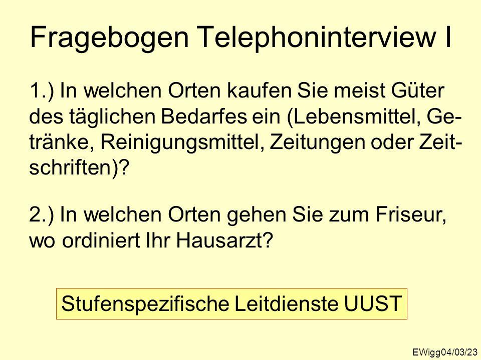 Fragebogen Telephoninterview I EWigg04/03/23 1.) In welchen Orten kaufen Sie meist Güter des täglichen Bedarfes ein (Lebensmittel, Ge- tränke, Reinigu