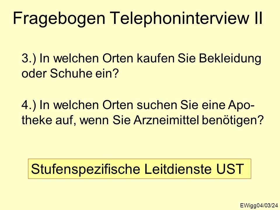 EWigg04/03/24 Fragebogen Telephoninterview II 3.) In welchen Orten kaufen Sie Bekleidung oder Schuhe ein? 4.) In welchen Orten suchen Sie eine Apo- th