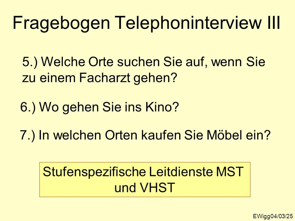 EWigg04/03/25 Fragebogen Telephoninterview III 5.) Welche Orte suchen Sie auf, wenn Sie zu einem Facharzt gehen? 6.) Wo gehen Sie ins Kino? 7.) In wel