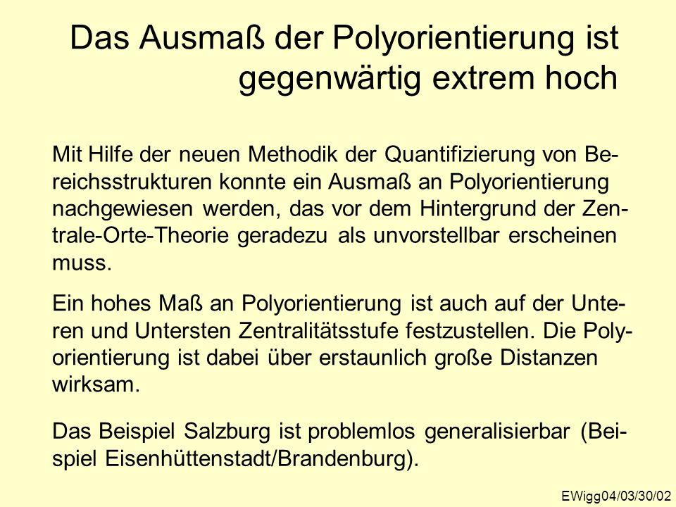 EWigg04/03/30/02 Das Ausmaß der Polyorientierung ist gegenwärtig extrem hoch Mit Hilfe der neuen Methodik der Quantifizierung von Be- reichsstrukturen