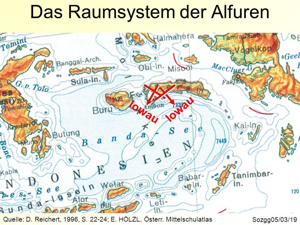 Sozgg05/03/19 Quelle: D. Reichert, 1996, S. 22-24; E. HÖLZL, Österr. Mittelschulatlas Das Raumsystem der Alfuren lowau