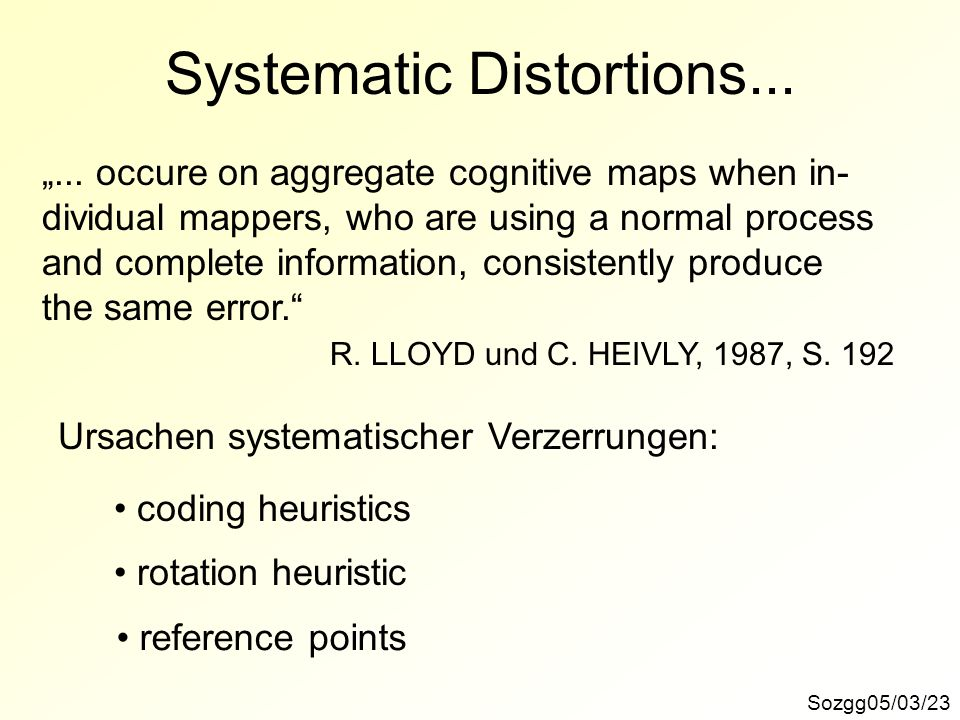 Systematic Distortions... Sozgg05/03/23... occure on aggregate cognitive maps when in- dividual mappers, who are using a normal process and complete i
