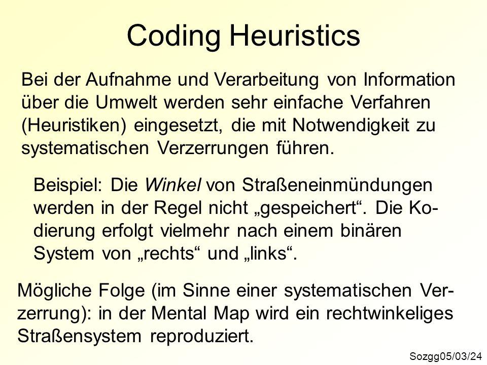 Coding Heuristics Sozgg05/03/24 Bei der Aufnahme und Verarbeitung von Information über die Umwelt werden sehr einfache Verfahren (Heuristiken) eingese