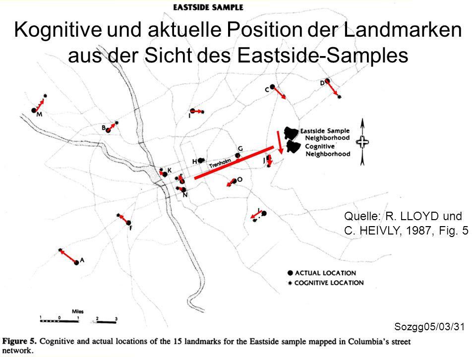 Kognitive und aktuelle Position der Landmarken aus der Sicht des Eastside-Samples Sozgg05/03/31 Quelle: R. LLOYD und C. HEIVLY, 1987, Fig. 5