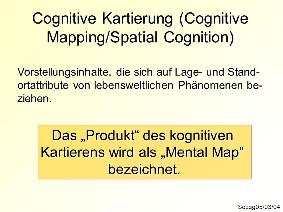Cognitive Kartierung (Cognitive Mapping/Spatial Cognition) Sozgg05/03/04 Vorstellungsinhalte, die sich auf Lage- und Stand- ortattribute von lebenswel