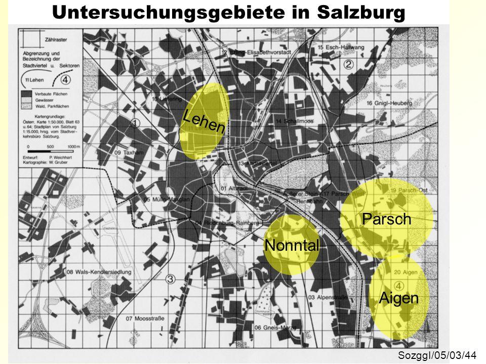 SozggI/05/03/44 Untersuchungsgebiete in Salzburg Nonntal Aigen Parsch Lehen