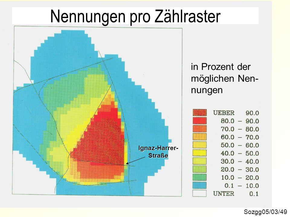 Sozgg05/03/49 in Prozent der möglichen Nen- nungenIgnaz-Harrer-Straße Nennungen pro Zählraster