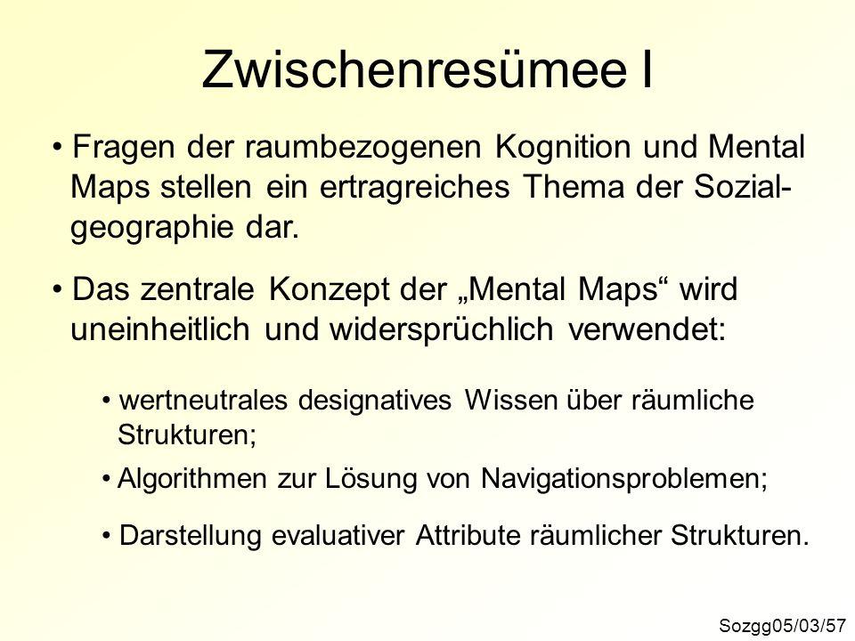 Zwischenresümee I Sozgg05/03/57 Das zentrale Konzept der Mental Maps wird uneinheitlich und widersprüchlich verwendet: Fragen der raumbezogenen Kognit