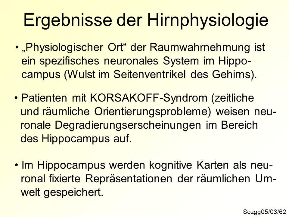 Ergebnisse der Hirnphysiologie Sozgg05/03/62 Physiologischer Ort der Raumwahrnehmung ist ein spezifisches neuronales System im Hippo- campus (Wulst im