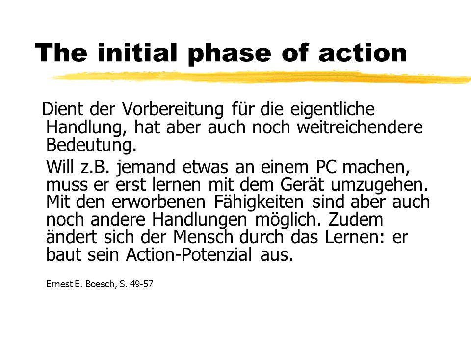 The initial phase of action Dient der Vorbereitung für die eigentliche Handlung, hat aber auch noch weitreichendere Bedeutung.