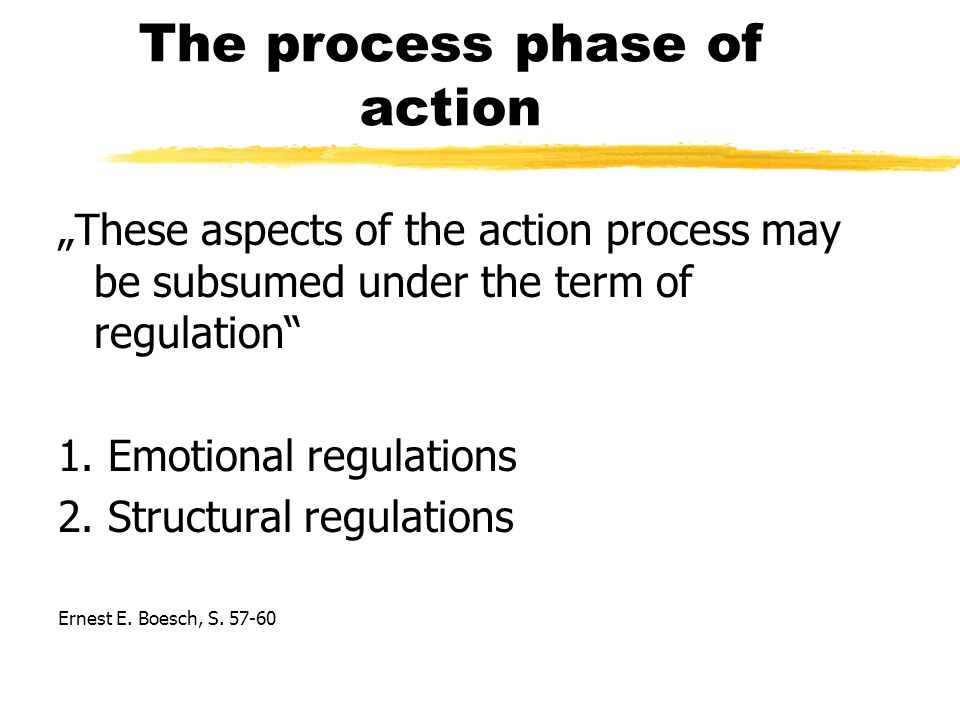 The process phase of action These aspects of the action process may be subsumed under the term of regulation 1.