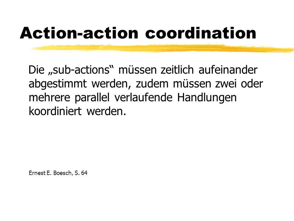 Action-action coordination Die sub-actions müssen zeitlich aufeinander abgestimmt werden, zudem müssen zwei oder mehrere parallel verlaufende Handlungen koordiniert werden.