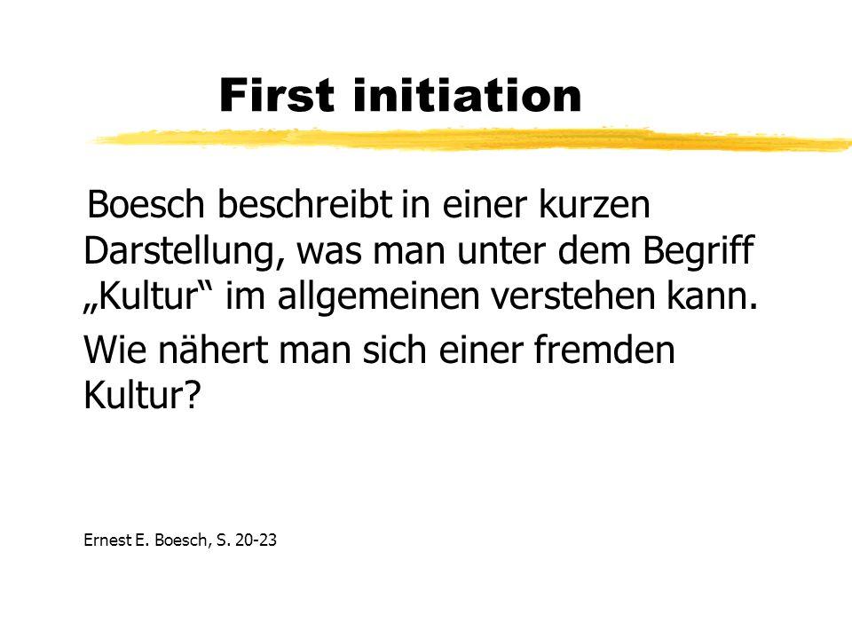 First initiation Boesch beschreibt in einer kurzen Darstellung, was man unter dem Begriff Kultur im allgemeinen verstehen kann.