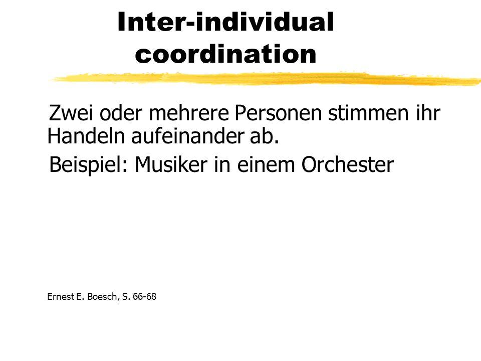 Inter-individual coordination Zwei oder mehrere Personen stimmen ihr Handeln aufeinander ab.