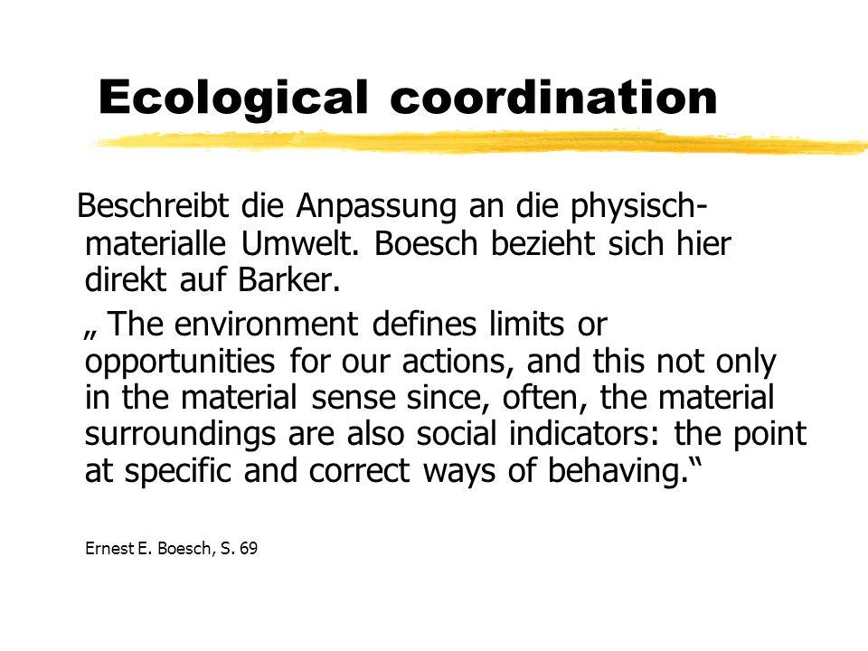Ecological coordination Beschreibt die Anpassung an die physisch- materialle Umwelt.