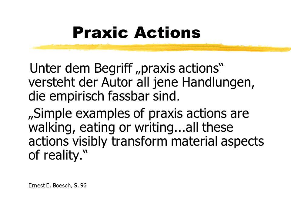 Praxic Actions Unter dem Begriff praxis actions versteht der Autor all jene Handlungen, die empirisch fassbar sind.