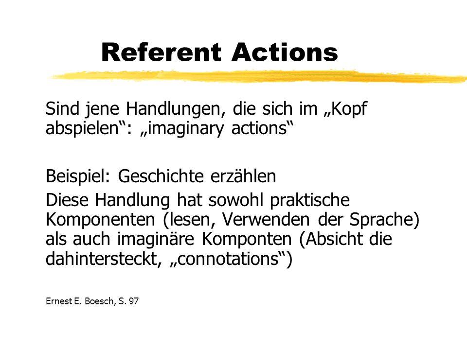 Referent Actions Sind jene Handlungen, die sich im Kopf abspielen: imaginary actions Beispiel: Geschichte erzählen Diese Handlung hat sowohl praktische Komponenten (lesen, Verwenden der Sprache) als auch imaginäre Komponten (Absicht die dahintersteckt, connotations) Ernest E.