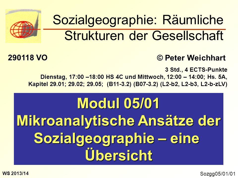 Sozgg05/01/01 Modul 05/01 Mikroanalytische Ansätze der Sozialgeographie – eine Übersicht Sozialgeographie: Räumliche Strukturen der Gesellschaft © Pet